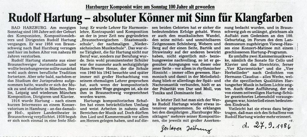 aus der Goslarer Zeitung vom September 1986 zum 100.sten Geburtstag
