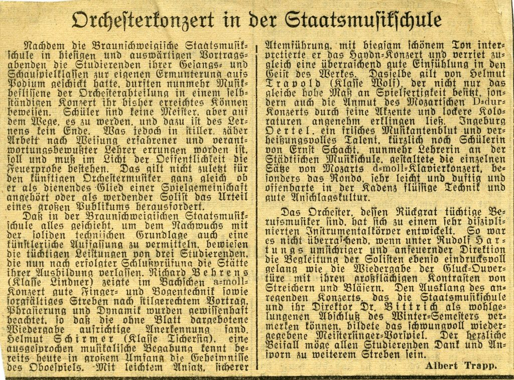 Orchestermusik in der Braunschweigischen Staatsmusikschule