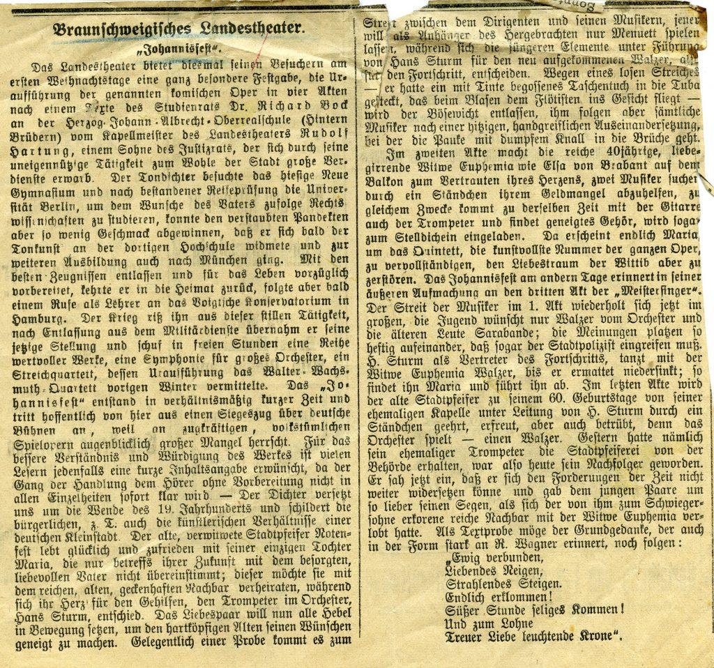 """Volkstümliche Spieloper """"Johannisfest"""""""